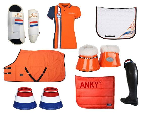 Oranje, rood wit blauw, nederlandse vlag, hup holland hup! Zadeldek, peesbeschermers, springschoenen, deken.  http://www.horsecheck.nl/