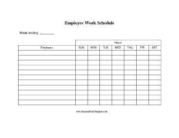 A basic printable form on which small businesses can list several employees along with their work schedule by day of the week. Free to download and print