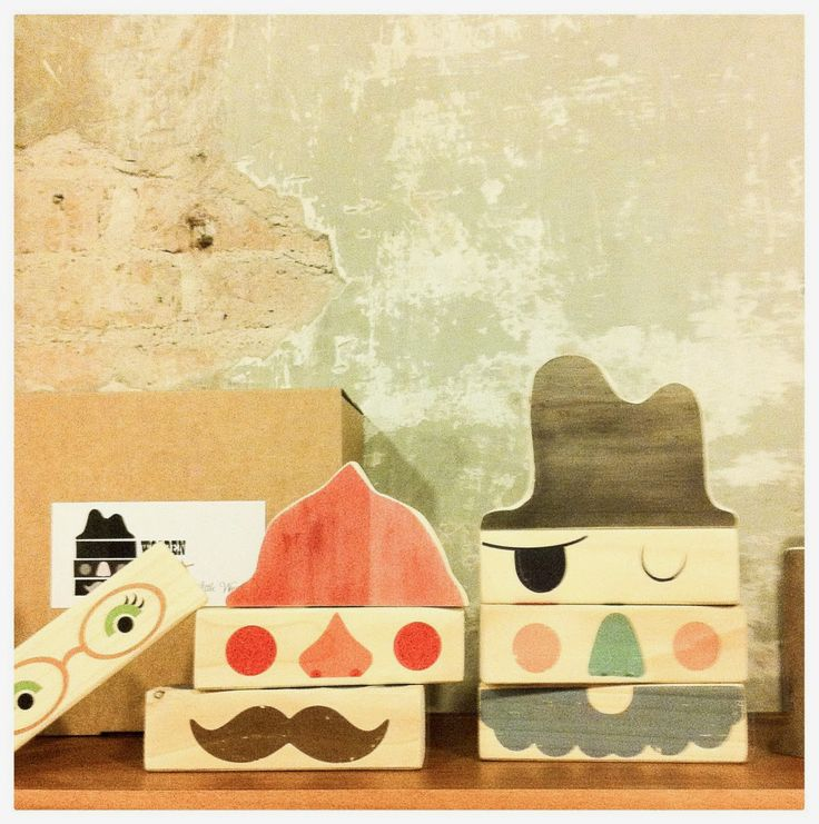 Fun wooden face blocks from Little Wood