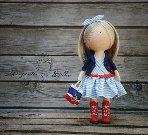 Handmade Decor doll red blue blonde Home doll Art doll Gift doll Soft doll Girl doll Tilda unique magic doll by Master Margarita Hilko