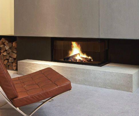 METALFIRE #Cheminéeboiscontemporaine #foyer fermé porte escamotable Modèle ULTIME D1050-50 WHE 2 faces angle