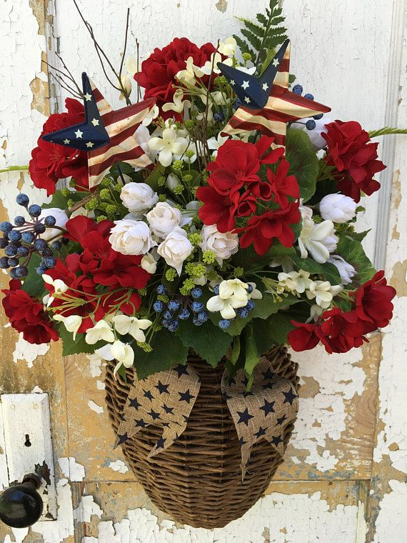 Valentines Front Door Decoration Patriotic Wreath Memorial Day Decor 4th of July Decoration White Stars Blue Roses Red and White Carnations