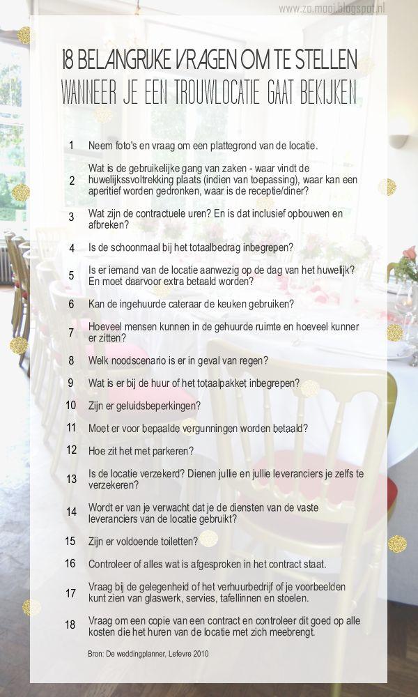 Zomooi blog: De vragen die belangrijk zijn om te stellen bij het bezoeken van een potentiele trouwlocatie  #weddingvenue #wedding