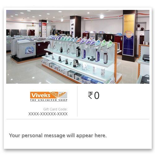 Viveks - Instant Voucher||  Viveks - Instant Voucher INR 1000.00 View Details  0 of 1 people found the following review helpful   E- gift card   By  Vinoth - See all my reviews  Verified Purchase(What is this?)  This review is from: Viveks - Digital Voucher (Ecard Gift Certificate)  Redeemed in Vivek showroom in chennai to buy a refrigerator  Share your thoughts with other customers:   See the customer review...  Product Description: View  This e-gift Card is valid for a period of 6 months…