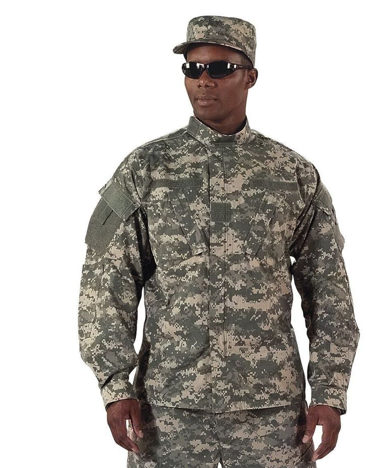 Army Combat Uniform Made to Mil-Spec - 55% Cotton / 45% Polyester Rip-Stop - Mandarin Collar - Rank Insignia Holder, Name Tape Holder and Branch Tape Holder - Shoulder Pockets and 2 Chest Pockets - El