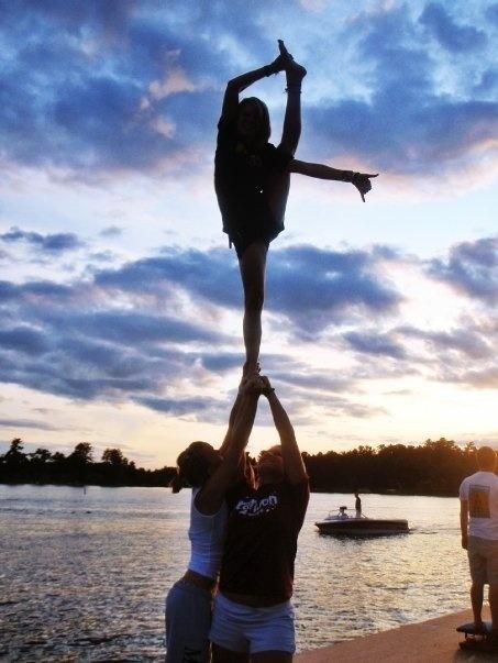 Bow and arrow. Beach stunting. | Cheer | Pinterest