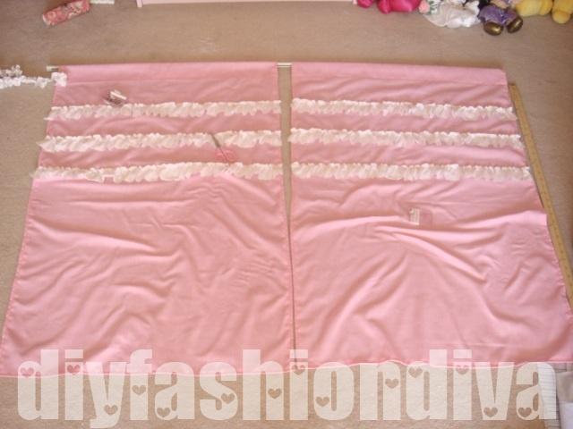 DIY Ruffle Curtains, girls bedroom.