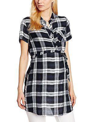 14, Blue (Navy), Dorothy Perkins Maternity Women's Check Shirt Regular Dresses N