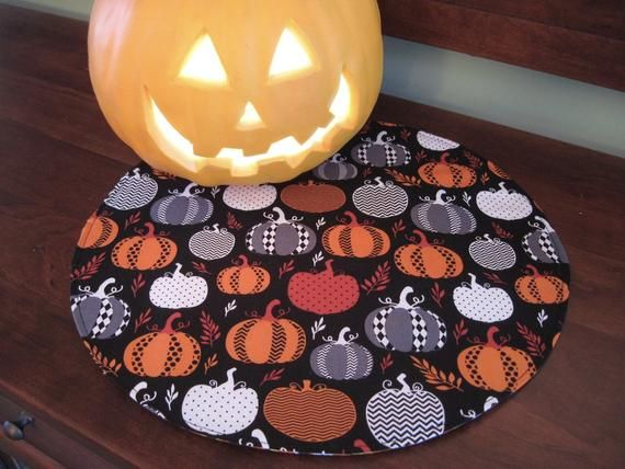 Halloween Round Placemats Reversible Set 2 Or 4 Gray Modern Etsy Fall Placemats Pumpkin Decorating Halloween Table Runners