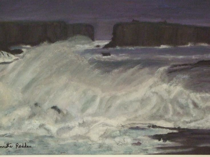 Artist Annette Reddan, Dublin Ireland. ' George's Head and Atlantic Waves'.        Price 250.00 euro