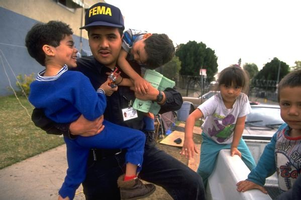 Northridge Earthquake, Calif., January 17, 1994 -- Many people were displaced by the earthquake, from small children to elderly people. FEMA provi...