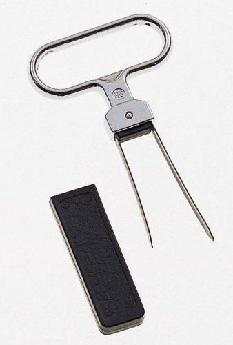 Chrome Cork Puller by Ghidini by Ghidini. $8.00. When you are opening an aged treasure of wine, you must necessarily approach the cork with reverence and caution. Do not pierce the cork, pry it. This cork puller does this most efficiently. Two flat, flexible blades are sturdily attached to a wide oblong handle. The longer of these pieces is inserted between the cork and the bottle and wiggled gently downward until the shorter piece enters the other side. Gentle tugging while...