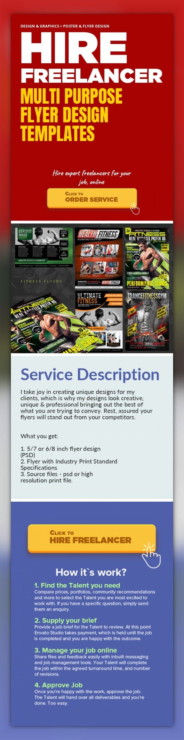Multi Purpose Flyer Design Templates Design & Graphics, Poster & Flyer Design   I take joy in creating unique designs for my clients, which is why my designs look creative, unique & professional bringing out the best of what you are trying to convey. Rest, assured your flyers will stand out from your competitors.     What you get:    1. 5/7 or 6/8 inch flyer design (PSD)  2. Flyer with Industr...