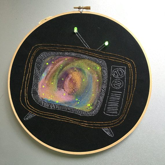 Tune Out hand embroidered vintage television wall hanging /