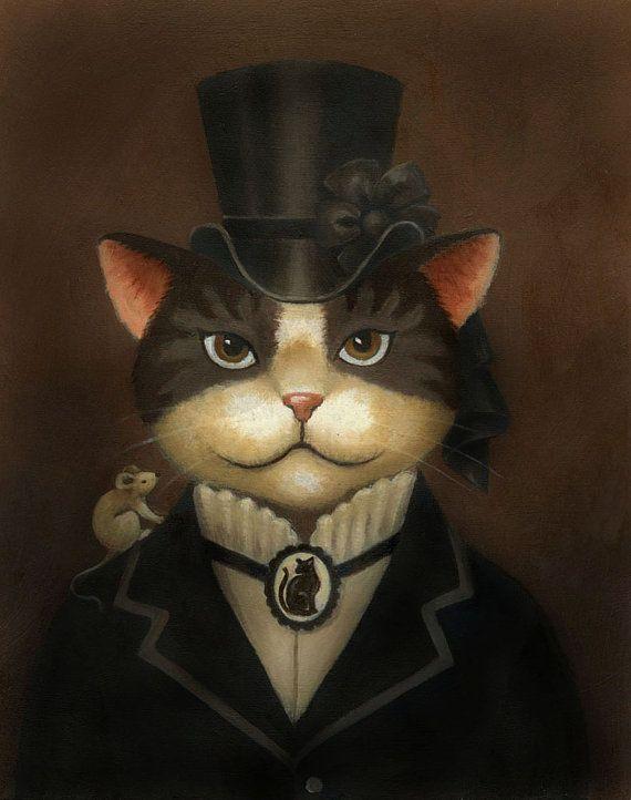 Kat staand afdrukken  Steampunk Cat  Cat Art  Victoriaanse