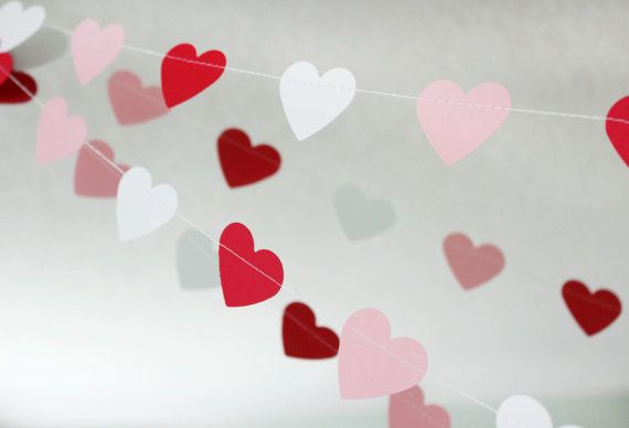 Rosso, bianco, rosa 10 ft cuore Paper Garland-matrimonio, compleanno, acquazzone Bridal, Baby Shower, festa decorazioni, San Valentino on Etsy, 7,55 €