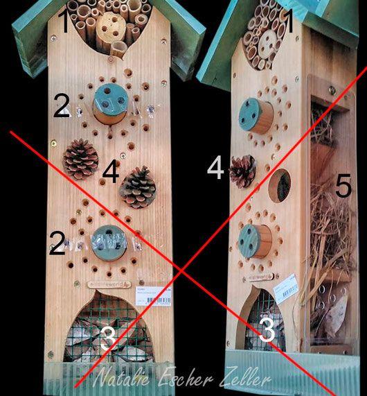 Der Nisthilfenirrsinn aus der Schweiz: 1. Bambus bis 3 cm Innendurchmesser. Hier können sogar Kolibris nisten. 3. Parasitenprävention: Beim Auftreten von Milben wird das unterste Fach in Brand gesteckt und das Problem erledigt sich von selbst.  4. Einzeln plazierte Kiefernzapfen verhindern die gefürchteten depressiven Verstimmungen bei der Massenhaltung. Weitere Erläuterungen auf der Website. (Insektenhotel Insektennisthilfe Nisthilfe Negativbeispiel Wildbienen insect hotel wild bees)