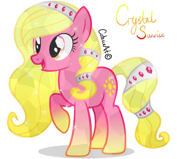 Crystal Sun Crystal (obviously) is a Crystal Pony and is the cousin of Krystal Heart. She is a bit of a beauty queen but has good intentions. She likes to accessorize, and wants to someday own a fashion shop with her cousin.
