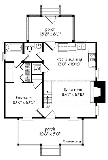 Home Plans HOMEPW24095 - 808 Square Feet, 1 Bedroom 1 Bathroom Home with