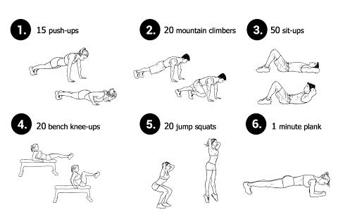 Basic Everyday Workout Neila Rey Everyday Workout Basic workout for any fitness level. Beginners 2 sets Advanced 5 sets Note: if you can't do push-ups as illustrated - bend your knees and use them for support as you perform the exercise. Instead of the bench use the edge of your bed or sofa.