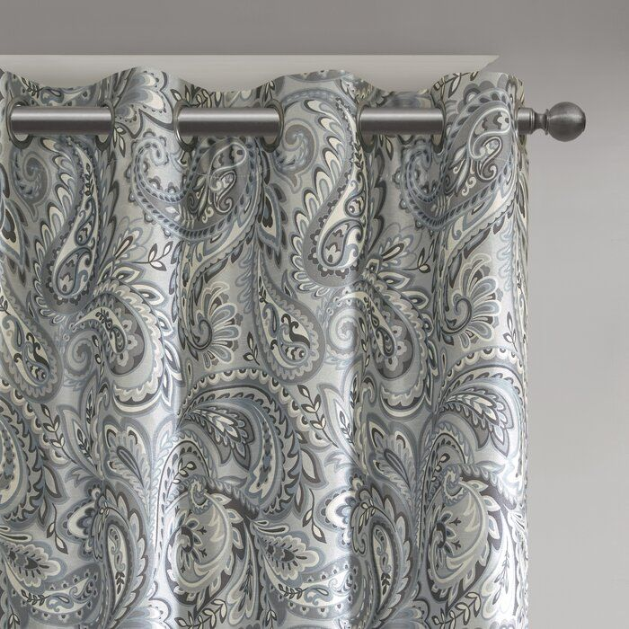Nicci Paisley Max Blackout Thermal Grommet Single Curtain Panel In