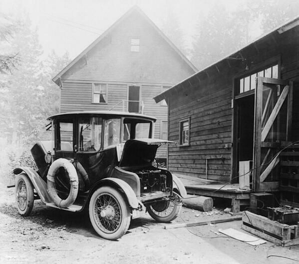 Charging and electric car in 1905. (Not such a new idea.)