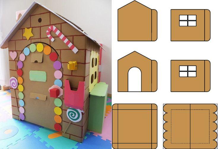 Домик и мебель для кукол своими руками из картона: схема ...