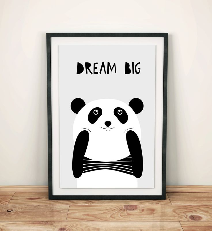 Poster for kids, nursery dekor, nursery wall art, nursery poster, kids poster, kids room, happy panda, dream big little one by GrafPoster on Etsy