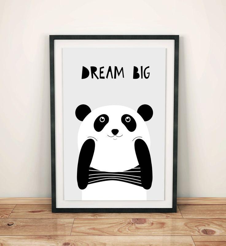 Poster for kids, nursery dekor, nursery wall art, nursery poster, kids poster, kids room, happy panda, dream big little one by GrafPoster on Etsy