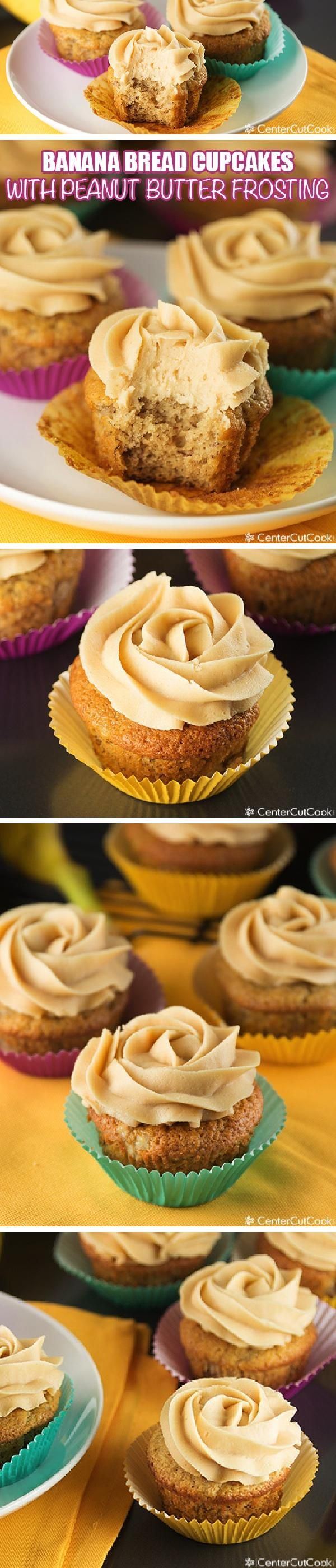 BANANA CUPCAKES with PEANUT BUTTER Cream Cheese FROSTING, made from scratch! An easy recipe that's simple and scrumptious!