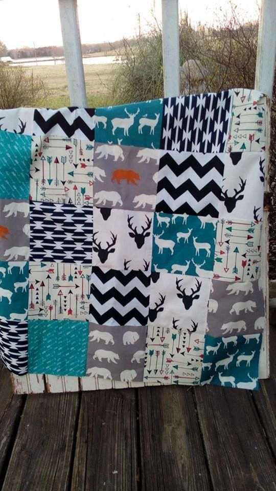 Baby Quilt Baby Boy Quilt  Arrow Baby Quilt  by VintageJunkieCo