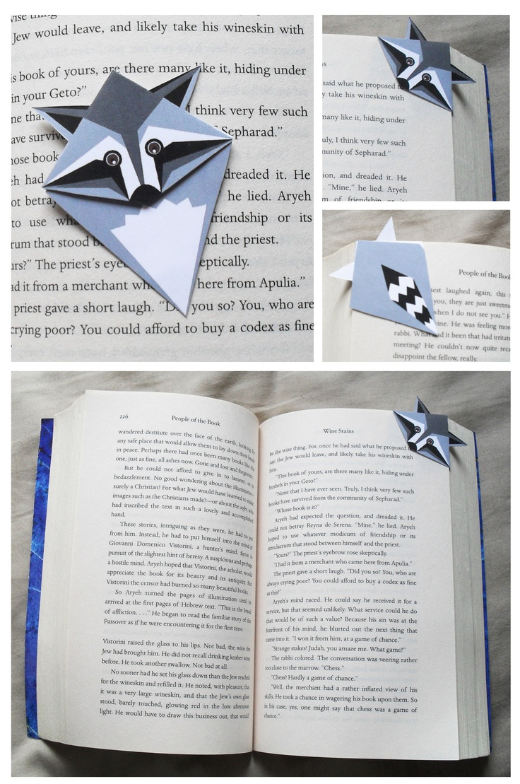 Raccoon corner bookmark.