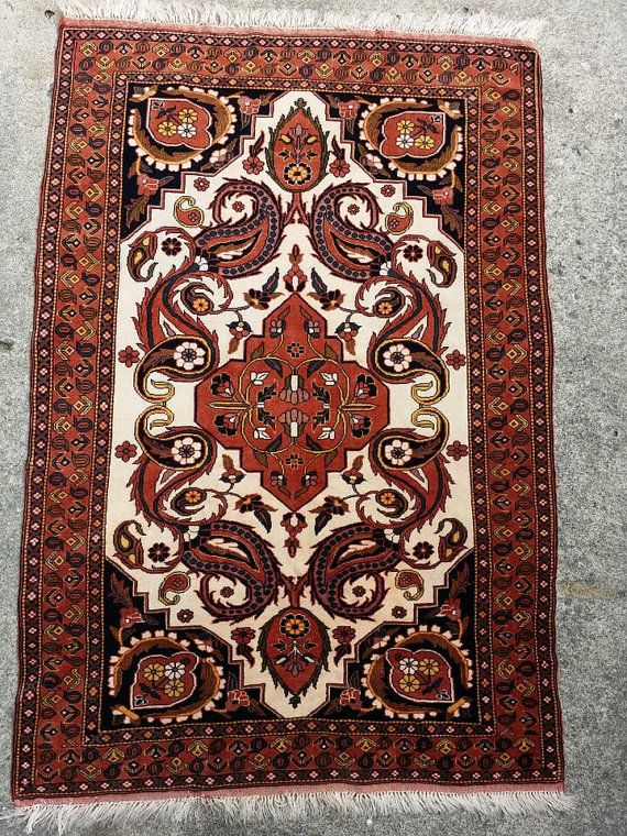 "Item#: R0008 Type: Persian Kurdish Ghousan Wool on Wool, 1970's Origin: Northwest Iran , Kurdish area Size: 50"" by 81.5"" Period: 1970's Materials:"