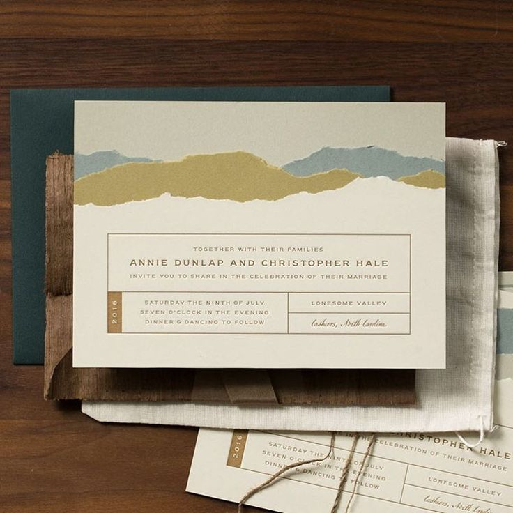 Our letterpress invitation design for Southern Weddings V9 with hand torn layers of paper to represent the stunning mountain setting. The full shoot, captured beautifully by @grahamterhune, is on the @southernweddings blog today! @tailortable @inkspotcrow @emily_anne_hair @missladylawless  @canyonkitchen @typoboutique @goodwinevents @adorncompany @latavolalinen @jewelrybyblitz @handydandyproductions @truvellebridal @richardphotolab @emilyayerthomas @laughingowlpress #makingsouthernweddings…