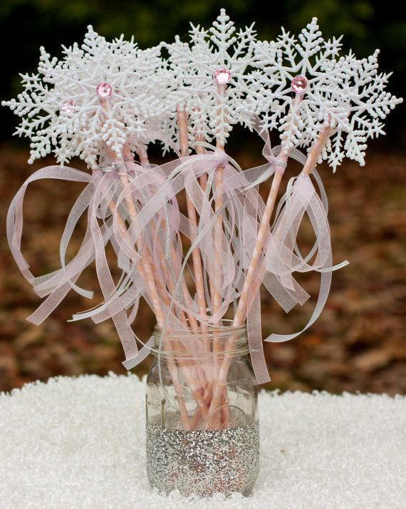 Frozen Party Winter Onederland White and Pink Snowflake Wands Centerpiece Table Decoration set of 10