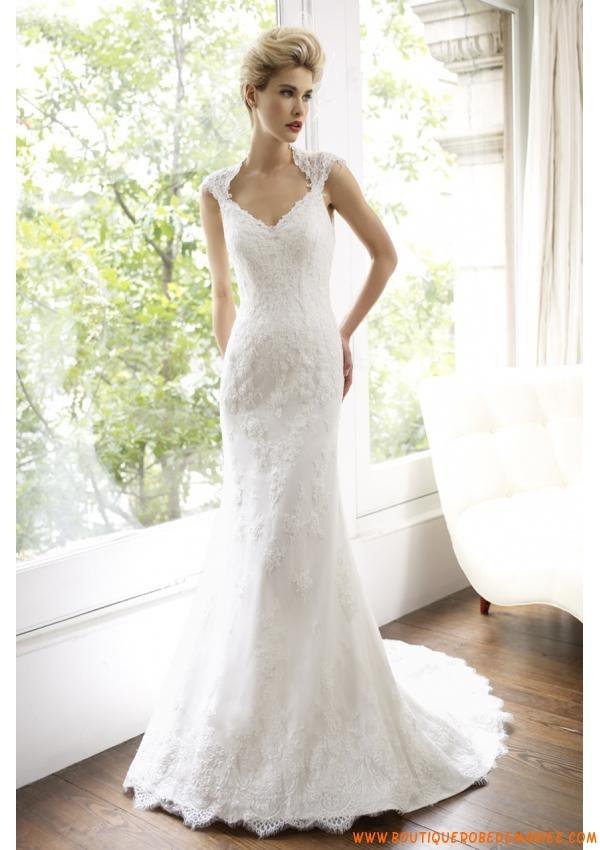 Robe de mariée dentelle satin col en V  Robe de mariée 2013 ...