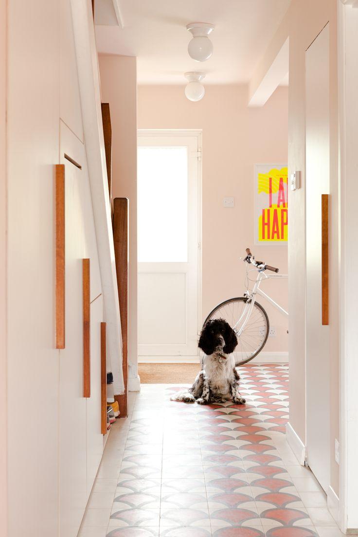 Hallway - 'mosaic del sur' ceramic concrete tiles, F&B pink ground paint colour, bespoke under-stair storage, cocker spaniel dog