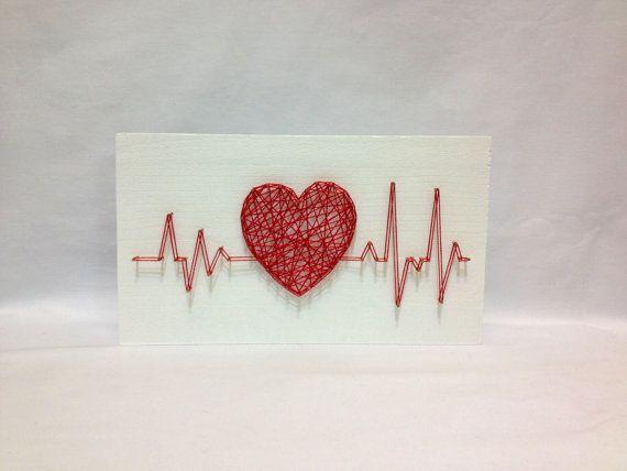 String Art ritme Heart Beat teken Wall Art Decor door OneRoots