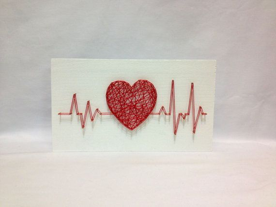 String Art Rhythm Heart Beat Sign Wall Art  The size: 8 x 4 inch (20 x 10 cm)  We do work in the style of string art on any theme: dc comics, Marvel,