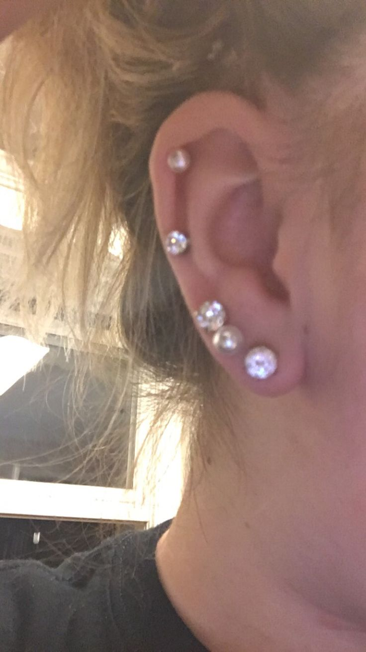 Ear Piercings Triple, Midway And Cartilage