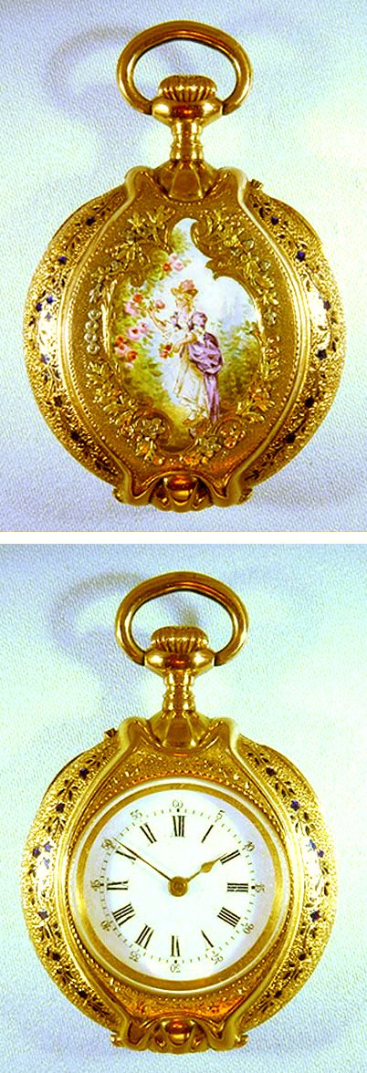 Swiss 18K multi-color gold and enamel oval ladies antique pendant watch with locket circa 1890.
