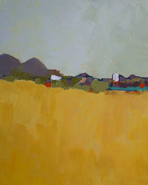 Modern Art Abstract landscape original oil painting by pamelam