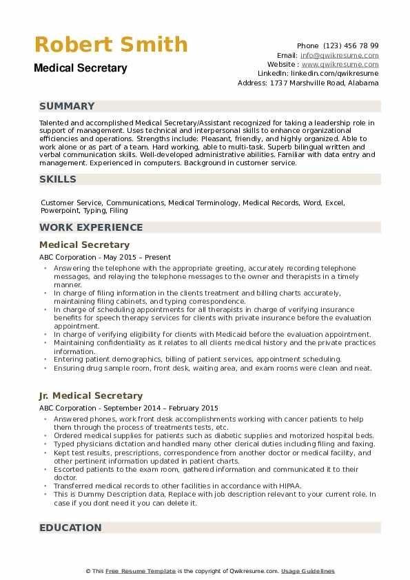 Medical Secretary Resume Samples Qwikresume Resume Template Resume Design Template Resume