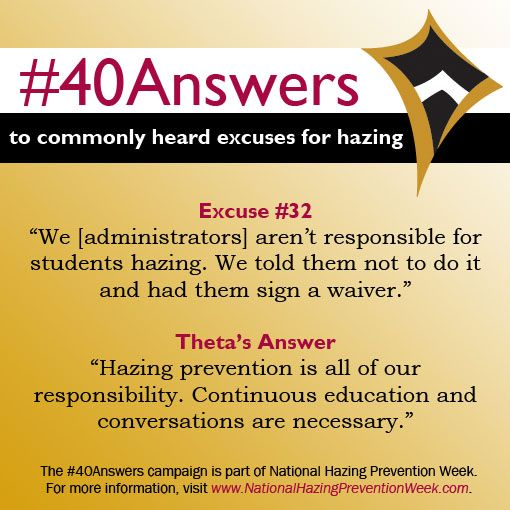#40Answers Campaign, Day 32: Hazing prevention is all of our responsibility. Continuous education and conversations are necessary. #NHPW