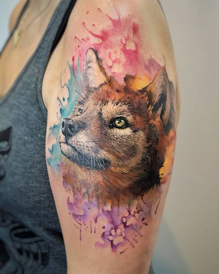 Best Fox Tattoos Images On Pinterest Fox Tattoos Animal - Artist creates amazing animal tattoos with digital pixel glitches