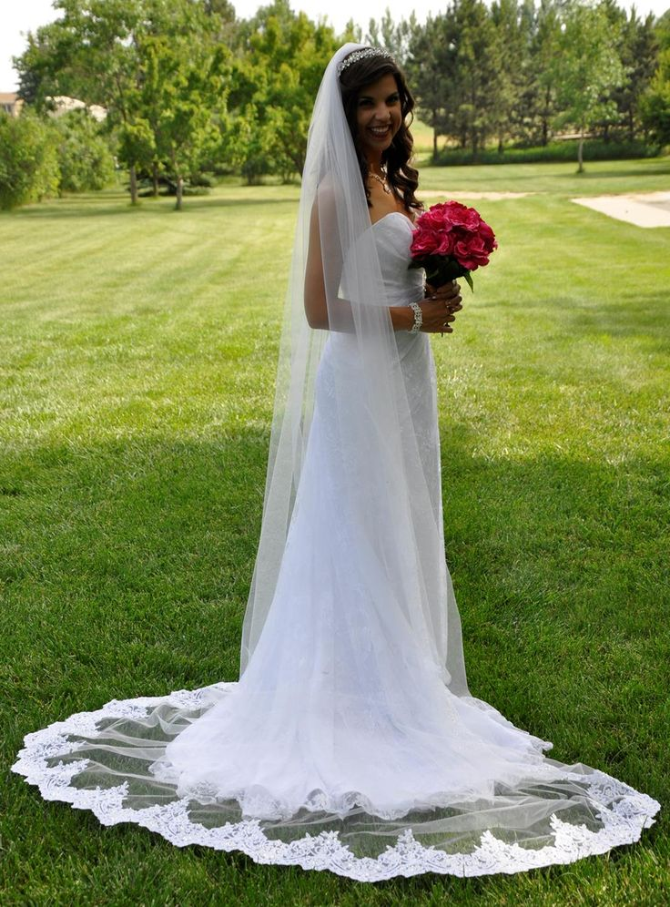 Cathedral Wedding Veil With Partial Beaded Lace Edge C440