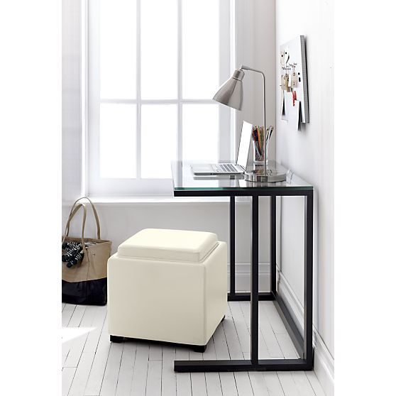"""Stow Blanco 17.5"""" Leather Storage Ottoman in Ottomans, Cubes 