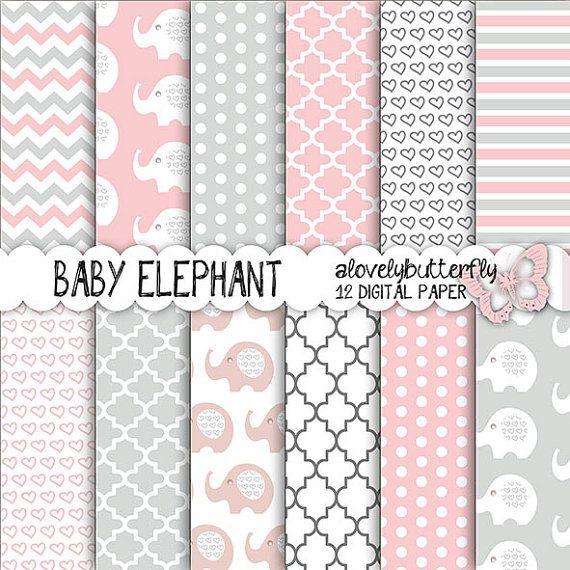 Rosa carta digitale elefante grigio bambina Digital Paper Pack, puntini, chevron, bambino Scrapbooking, uso commerciale piccolo, INSTANT DOWNLOAD