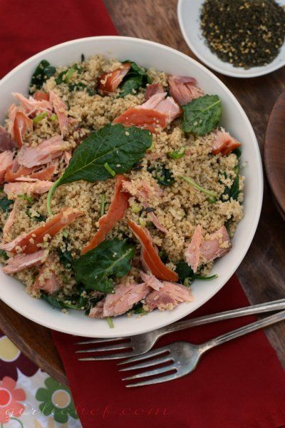 whole wheat couscous w smoked salmon and kale. quick and awesome! from ...