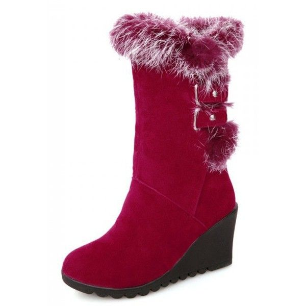 IDIFU Women's Comfy Buckled Faux Fur Lined Wedge Mid Calf Snow Boots... ❤ liked on Polyvore featuring shoes, boots, wedge snow boots, calf length boots, wide mid calf boots, mid calf length boots and faux fur lined boots